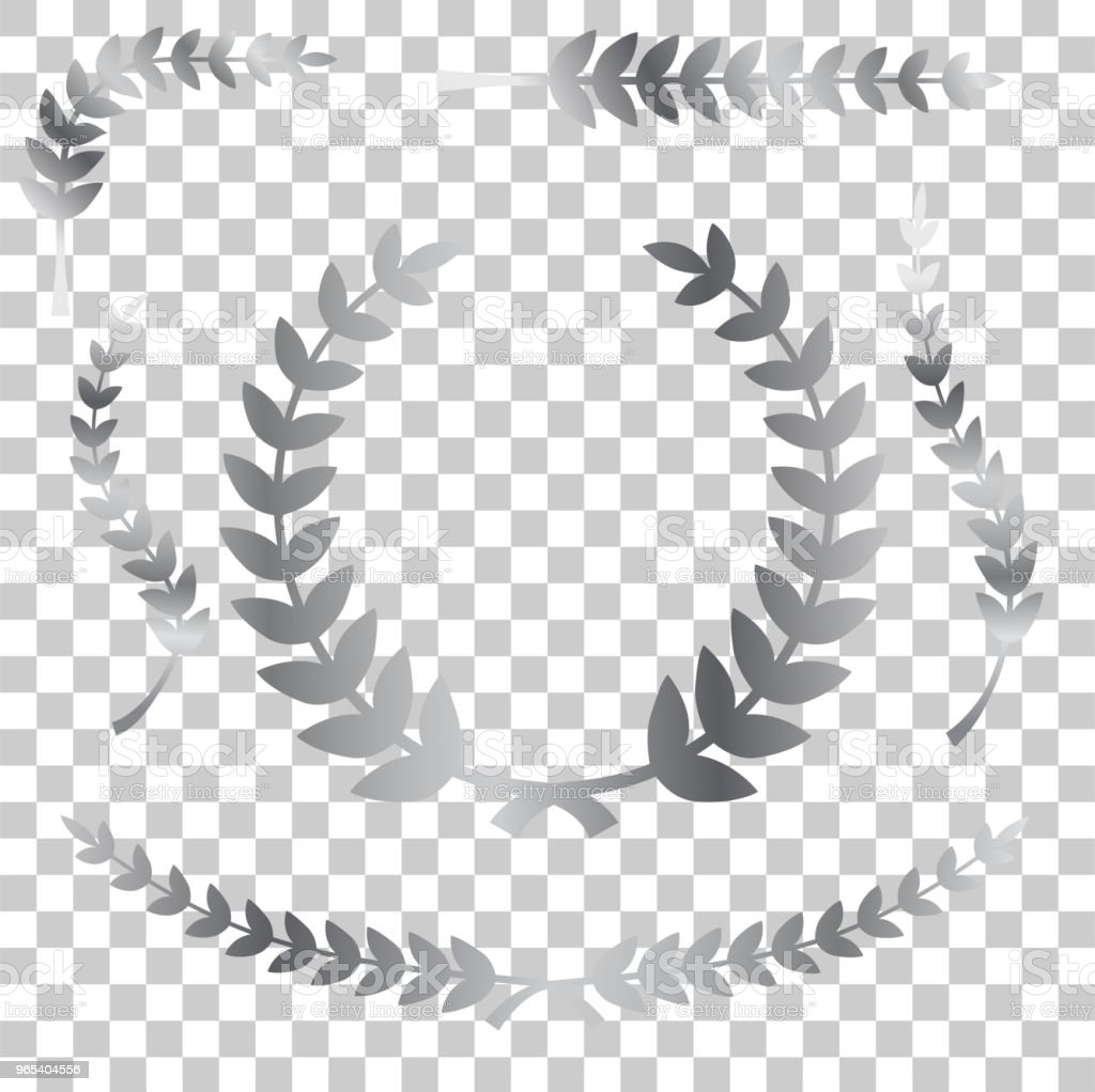 various simple shape chrome or silver laurel wreath vector icon, for your title border, at transparent effect background royalty-free various simple shape chrome or silver laurel wreath vector icon for your title border at transparent effect background stock vector art & more images of achievement