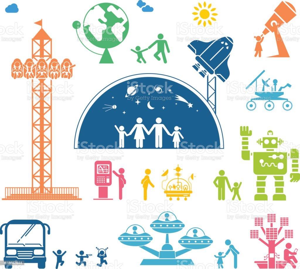 Diferentes situaciones del uso de tecnología para la diversión y educación. - ilustración de arte vectorial