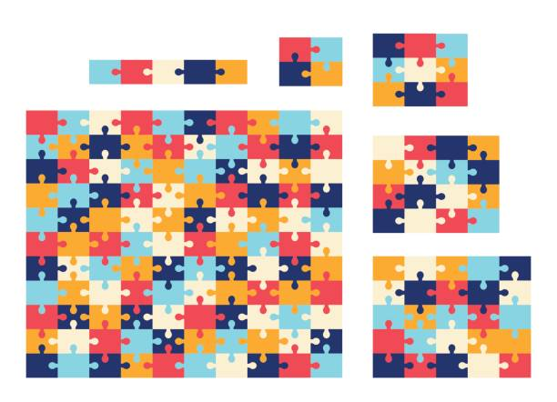 verschiedenen größen jigsaw puzzle. bunte sammlung vektor. - puzzle stock-grafiken, -clipart, -cartoons und -symbole