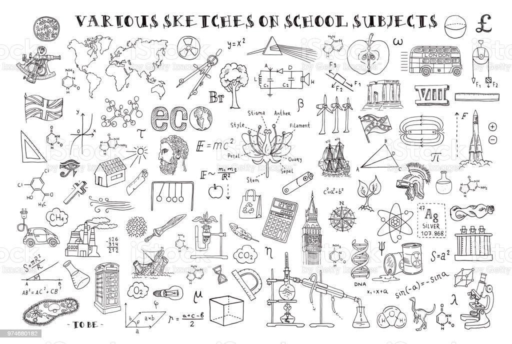 Vários esboços em disciplinas escolares. Esboços de mão no tema da matemática e geometria. Ilustração em vetor. Doodle de conjunto. - ilustração de arte em vetor