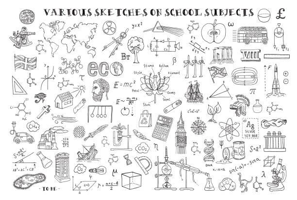 ilustrações de stock, clip art, desenhos animados e ícones de various sketches on school subjects. hand sketches on the theme of maths and geometry. vector illustration. doodle set. - teacher school solo