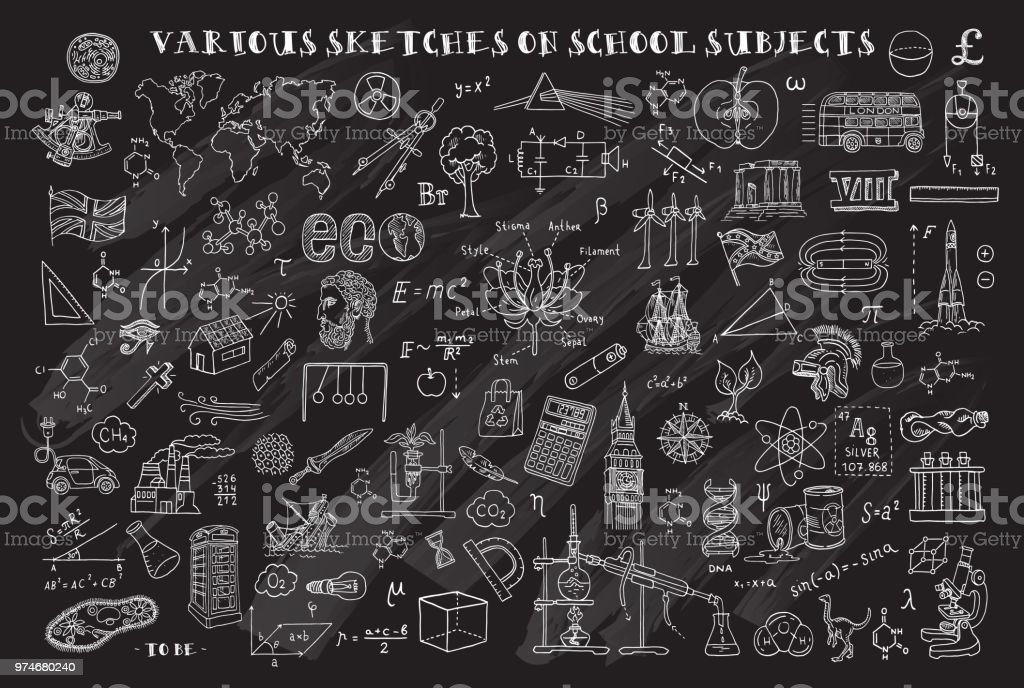 Various sketches on school subjects. Hand sketches on the theme of Maths and geometry. Chalkboard. Vector illustration. Doodle set. vector art illustration