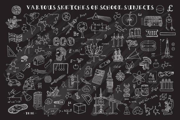 ilustrações, clipart, desenhos animados e ícones de vários esboços em disciplinas escolares. esboços de mão no tema da matemática e geometria. quadro-negro. ilustração em vetor. doodle de conjunto. - aula de ciências