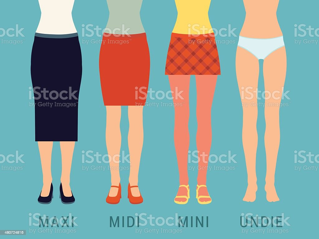 Various skirts and underwear vector art illustration