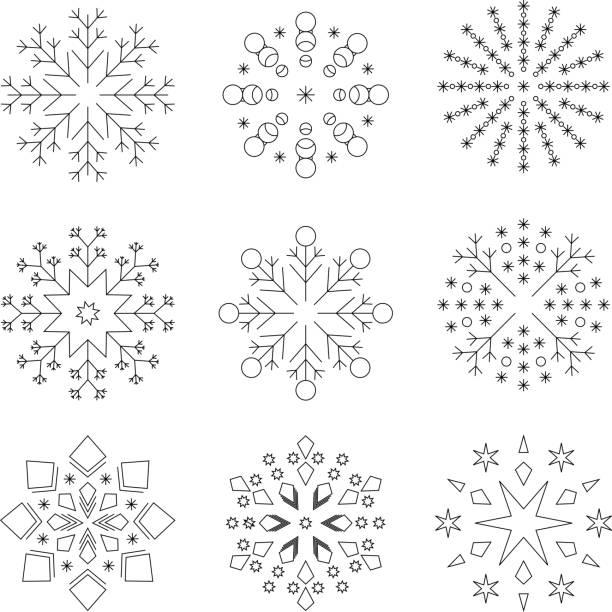 Verschiedene Schneeflocken, schwarz und weiß, Strichzeichnungen – Vektorgrafik