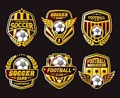 Various soccer ball and football emblems on white background interface icon set. Stylish football club emblems. Creative graphic logo design elements. Luxury  soccer ball and football emblems gold and red colors. Vector illustration
