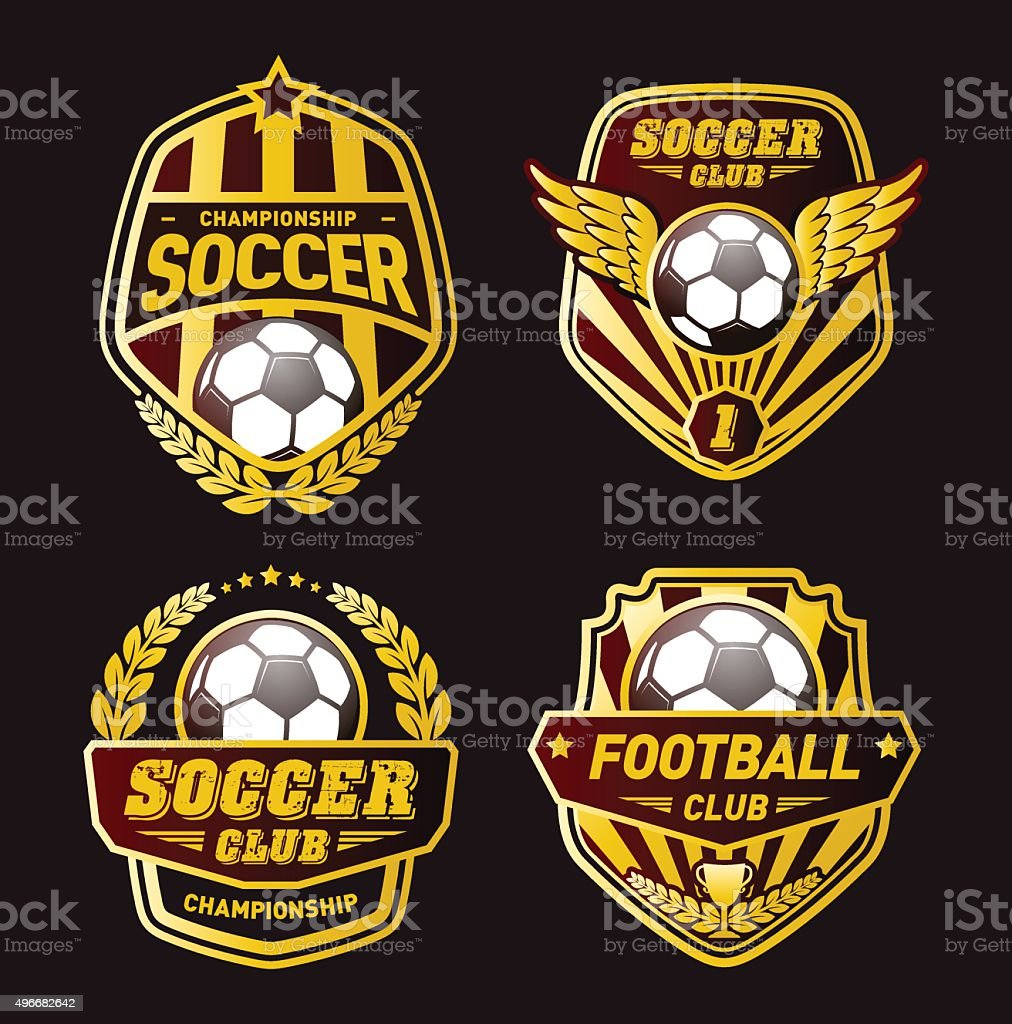 Various soccer ball and football emblems on white background...