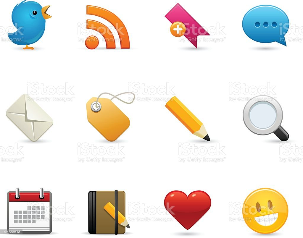 Various social media icons on white background vector art illustration