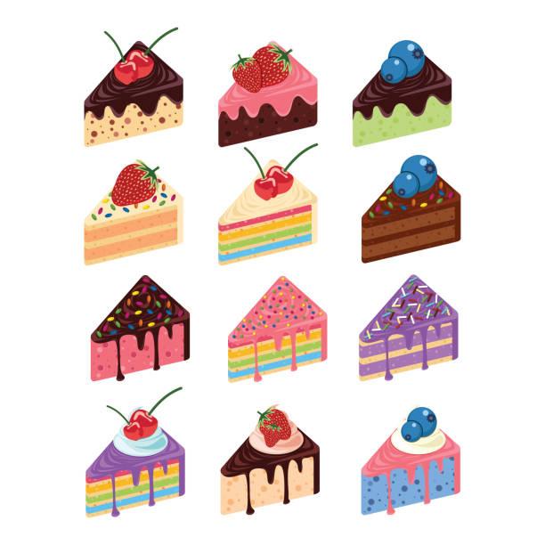 stockillustraties, clipart, cartoons en iconen met verschillende biscuit stuk zoet fruit snack set - taartpunt