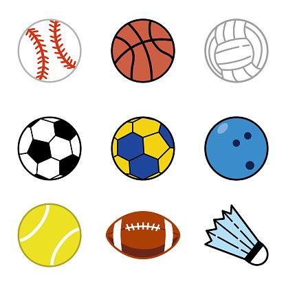 Various sports ball icon set.