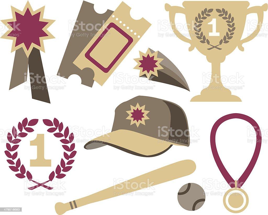 Various sports elements vector art illustration