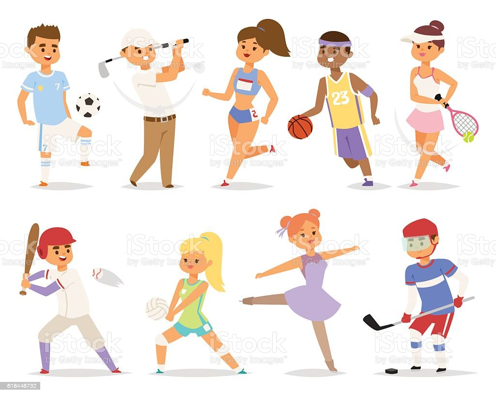 Various sports people. vector art illustration