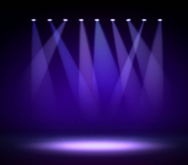 Various Stage Lights In The Dark Spotlight On Vector Art Illustration