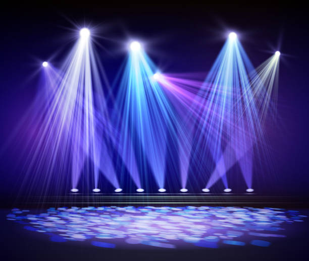 Various stage lights in the dark. Spotlight on stage Various stage lights in the dark. Spotlight on stage. Vector stage light stock illustrations