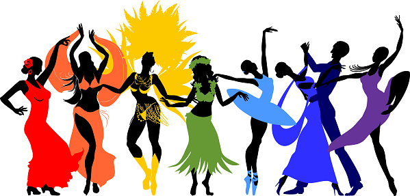 Various style dancing. Group of silhouettes of dancers of ballet, flamenco, oriental dance, hula, samba, waltz and contemporary isolated on white background