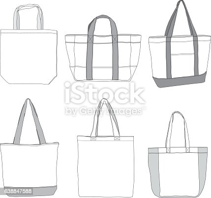 Various style tote bag template