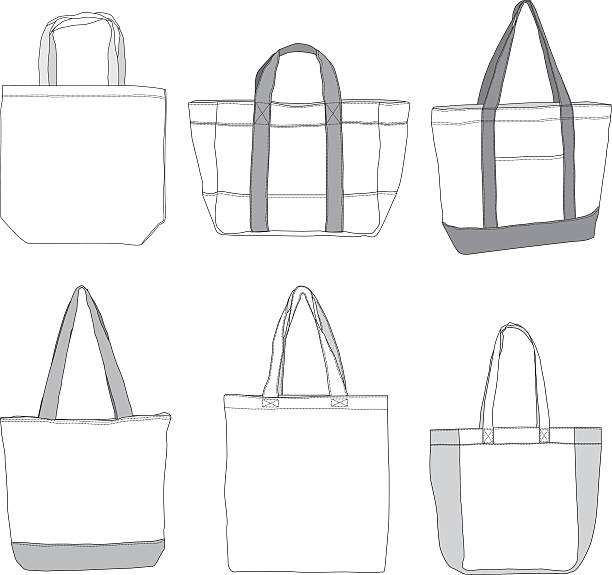 various style tote bag template - shopping bags stock illustrations