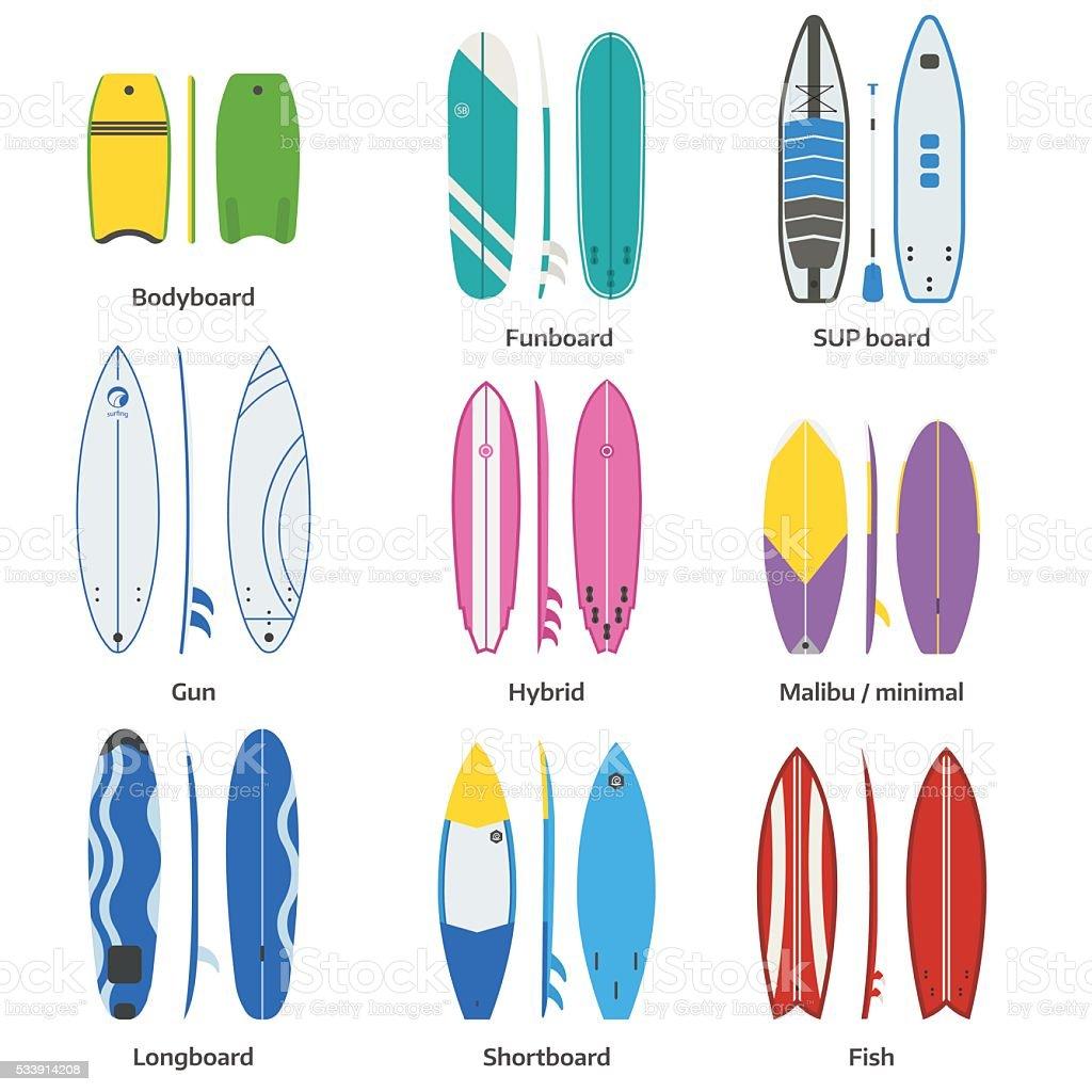 Various Surfboards Vector Set vector art illustration
