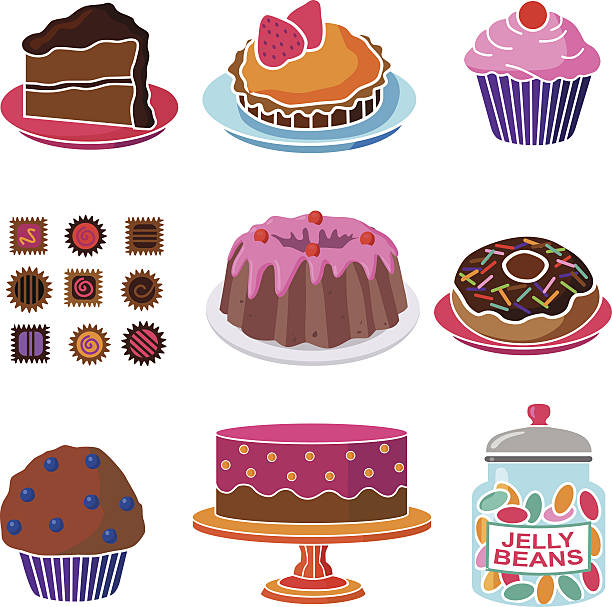 various sweet shop confections and candies vector art illustration