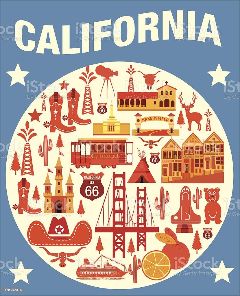Various Symbols Of California Travels In Yellow Circle Stock Vector