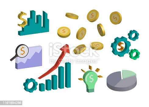 Various symbols relating to investment and finance isolated on white background.