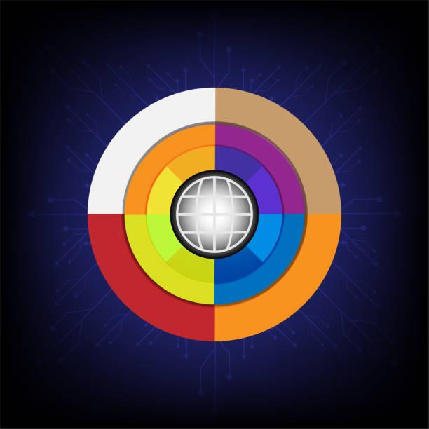 verschiedenen Technologie Elemente Hi-Tech-Konzept Innovation Hintergrund Kreis leer Kommunikationsraum für Ihren text – Vektorgrafik