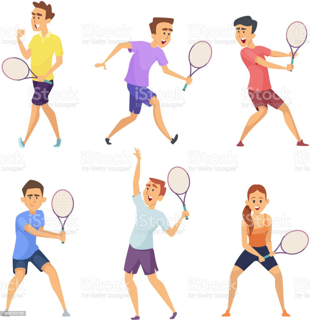 Various tennis players. Vector characters in action poses vector art illustration
