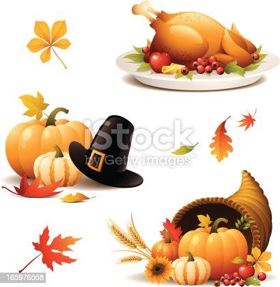 - set of thanksgiving turkey, cornucopia, pilgrim hat