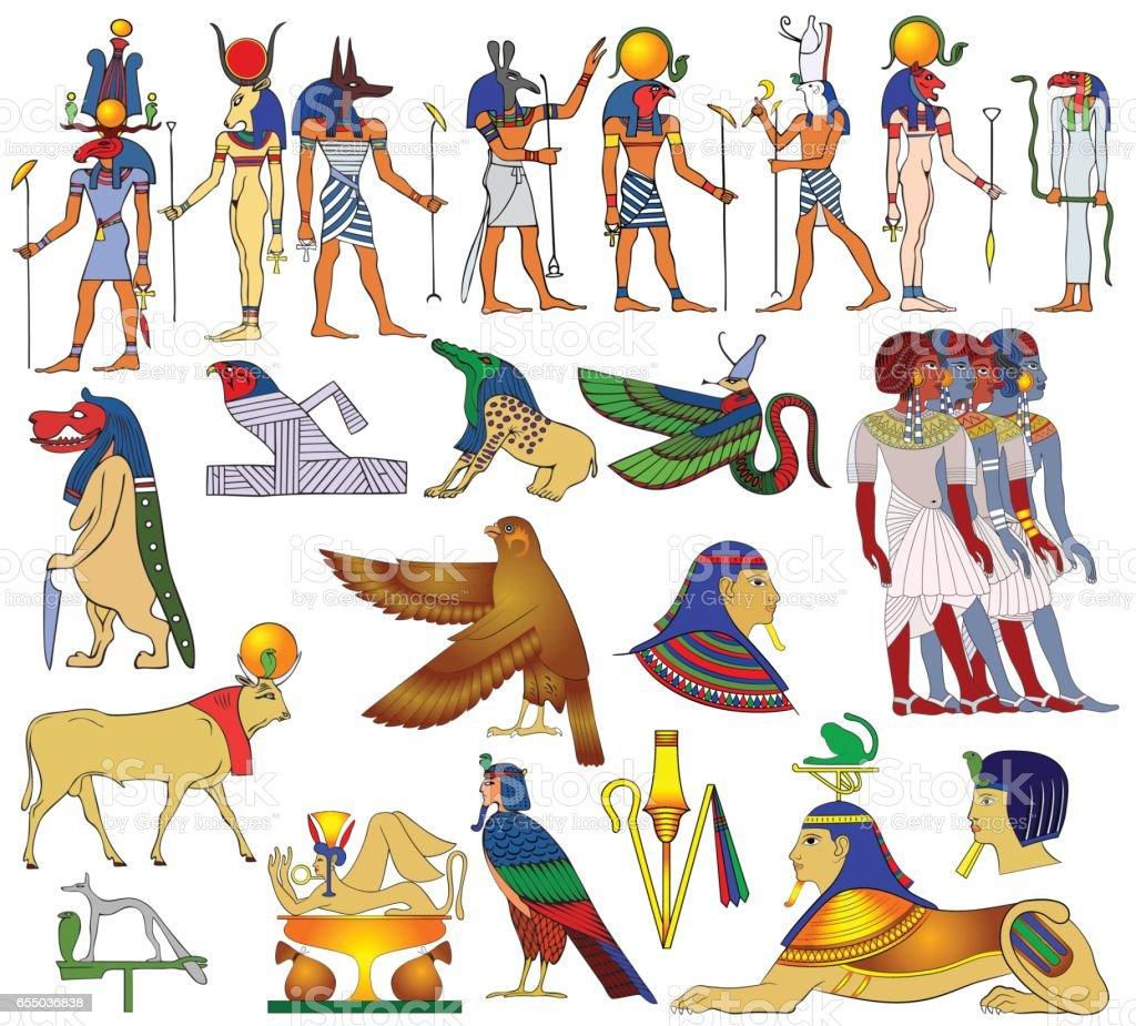 Various themes of ancient Egypt - vector illustration vector art illustration