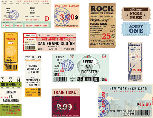 다양한 항공권 컬레션 - 티켓 스텁 stock illustrations