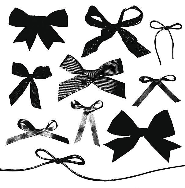 Various tied, black bows on a white background vector art illustration