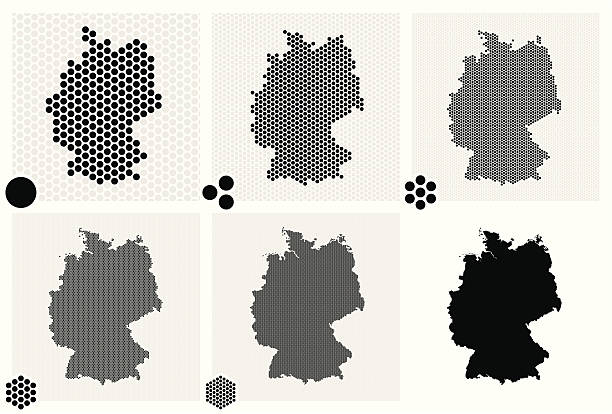 stockillustraties, clipart, cartoons en iconen met various tiles of germany in multiple dotted patterns - united stats halftone dots