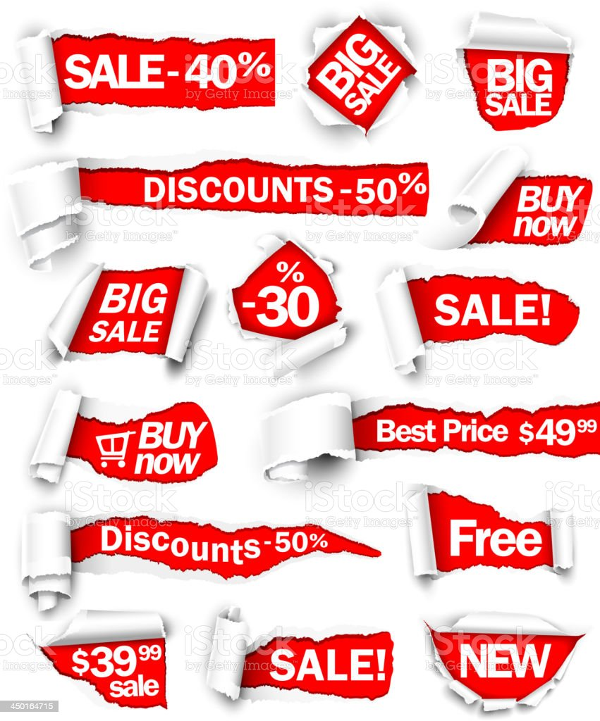 Various torn red discount signs on white background  royalty-free stock vector art