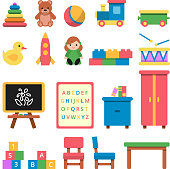 Various toys for preschool kids. Toy and furniture for babyt and children. Vector illustration