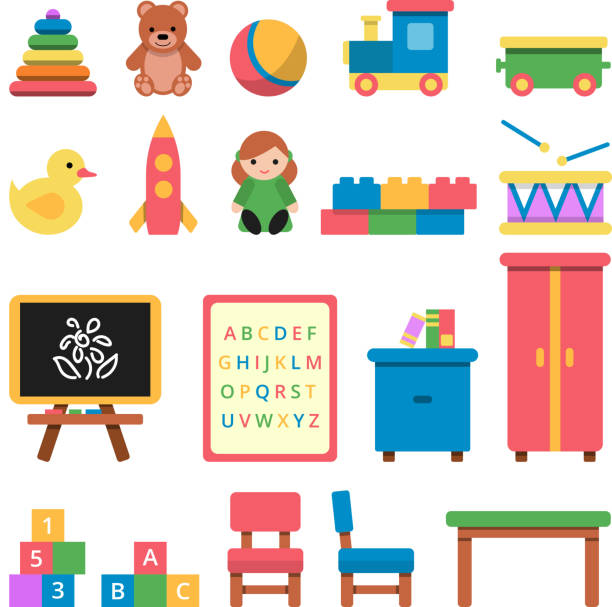various toys for preschool kids - przedszkole stock illustrations