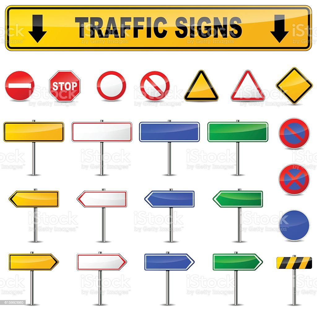 various traffic signs vector art illustration