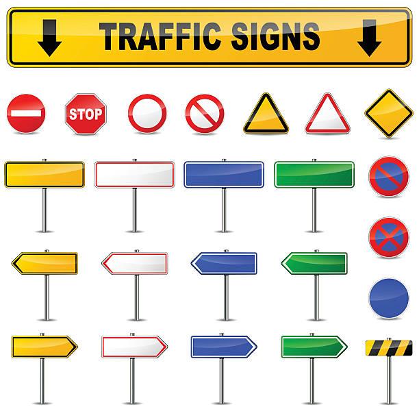 various traffic signs vector art illustration