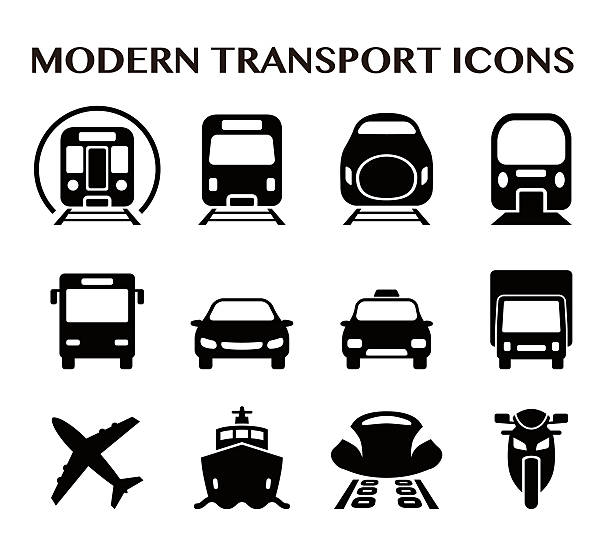 various transportation square icon set various transportation square icon set, including cars, trains, subway, monorail, linear motor car, airplane, ship, motorcycle high speed train stock illustrations