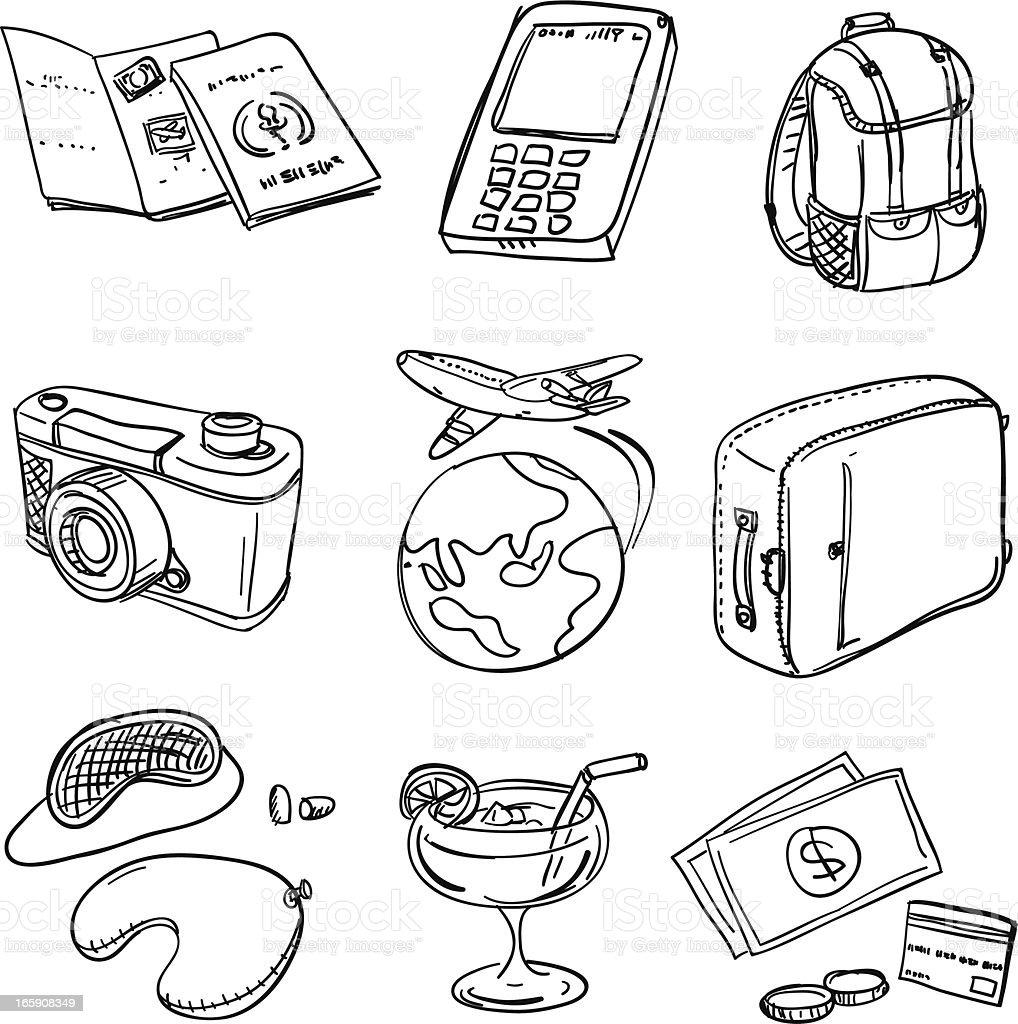 Viajes iconos en blanco y negro - ilustración de arte vectorial