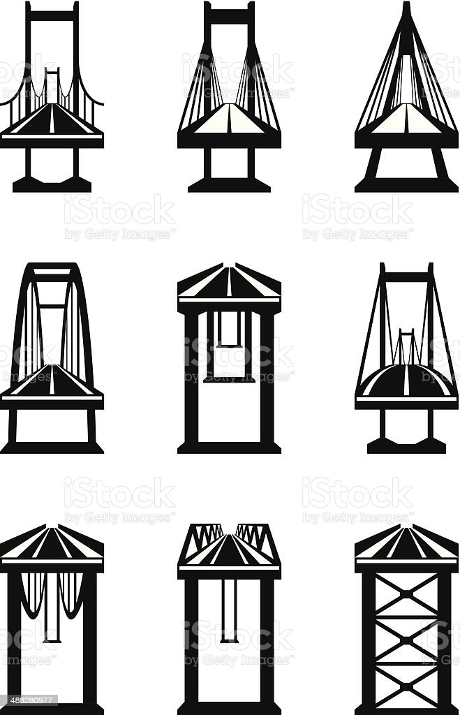 Various Types Of Bridges Stock Vector Art & More Images of