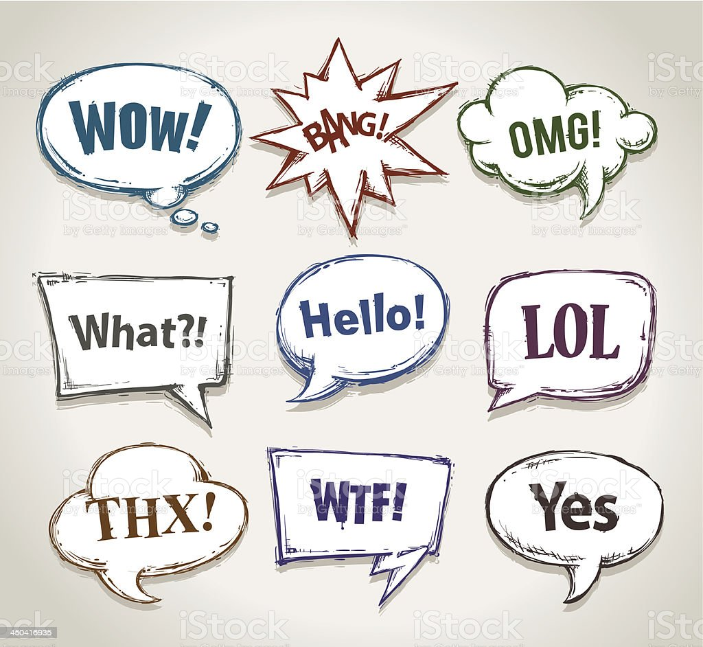 Various types of different hand drawn speech bubbles vector art illustration