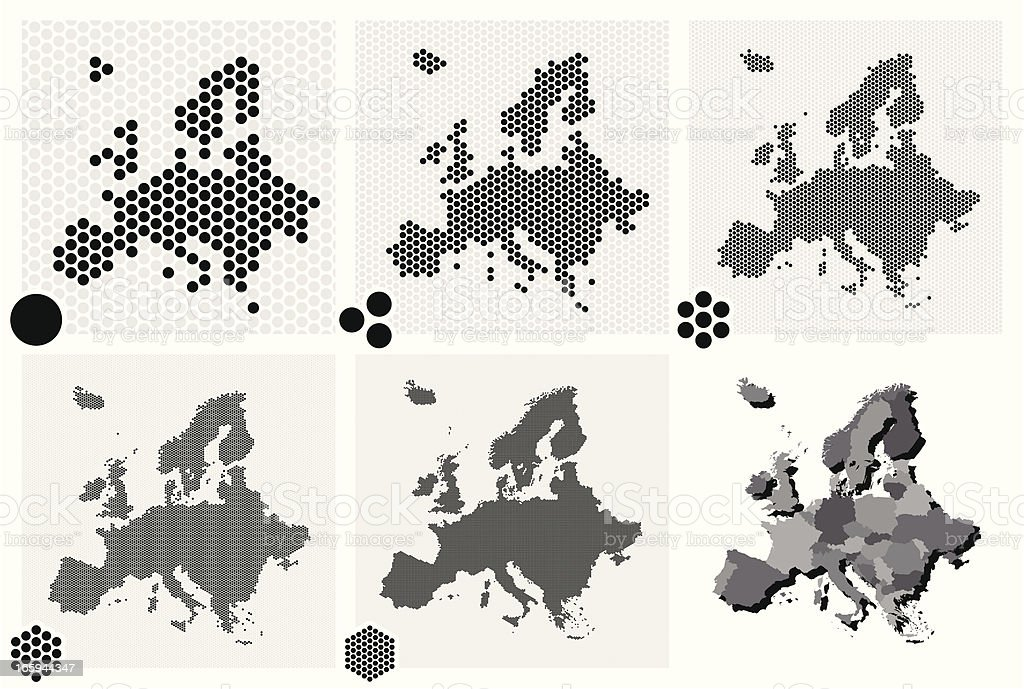 Various types of dotted maps of Europe resolutions vector art illustration