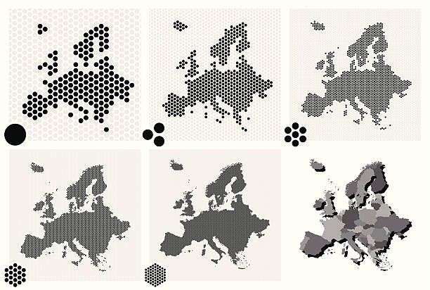 stockillustraties, clipart, cartoons en iconen met various types of dotted maps of europe resolutions - united stats halftone dots