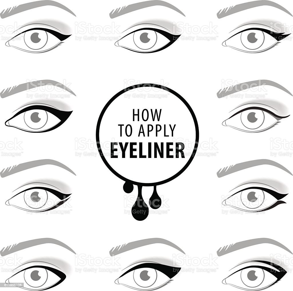 Various types of eyeliner, vector set vector art illustration