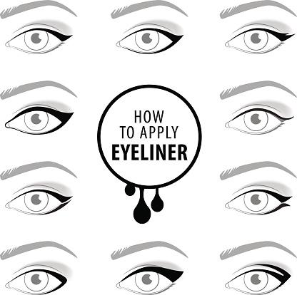 Various types of eyeliner, vector set vector art illustration