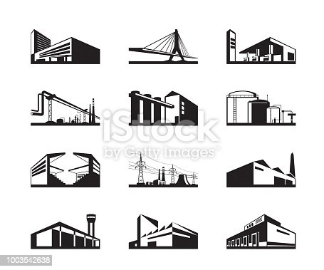 Various types of industrial construction - vector illustration