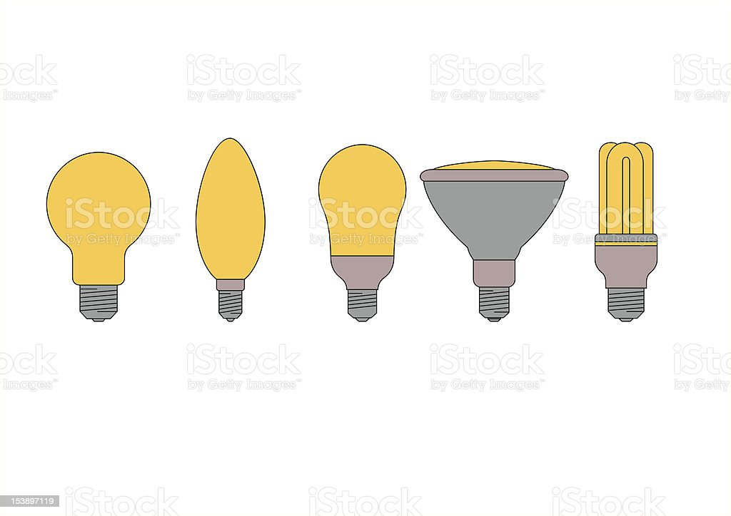 various types of light bulbs royalty-free stock vector art