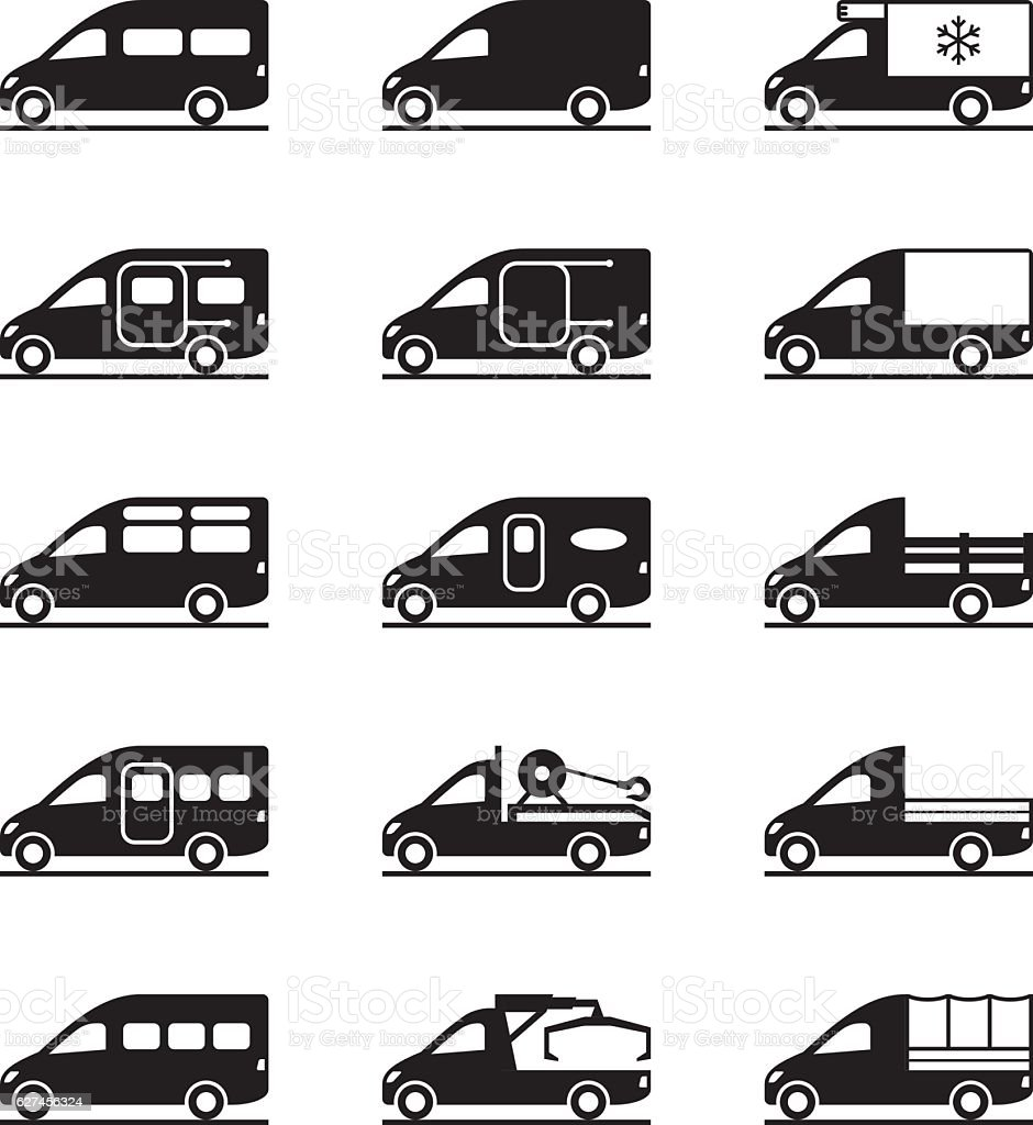 Various types of vans and pickups vector art illustration
