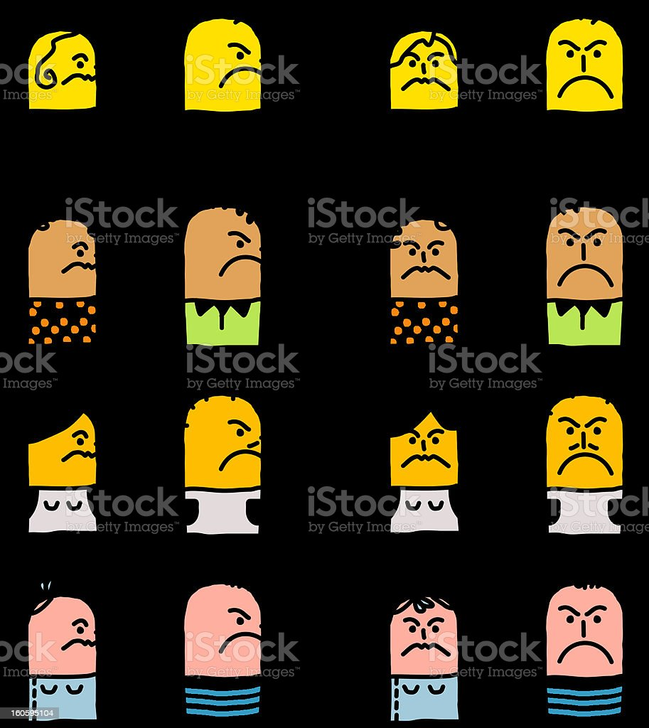 various unhappy people emoticons vector art illustration