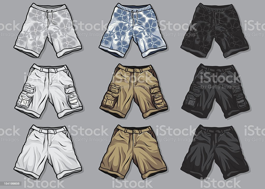 Various Vector clothing: men's shorts royalty-free stock vector art
